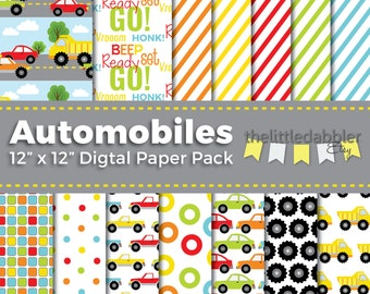 Cars and Trucks Digital Paper Pack (14 designs) Preschool Primary Color Red Orange Yellow Green Blue Automobiles Dump Truck Tires - PNG