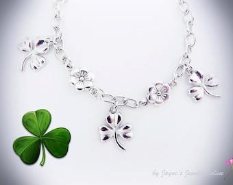 Shamrock Bracelet, St Patricks Day, Silver Shamrock Charm bracelet, Lucky Bracelet, Irish Shamrock