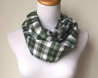 green and white flannel infinity scarf