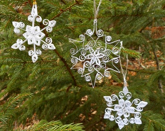 Magical paper quilled Snowflakes - set of six