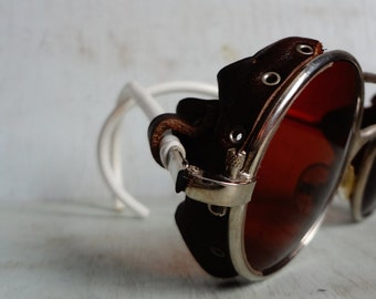 Vintage Round Silver Frame Sunglasses w/ Brown Leather Side Blinders and Brown Lenses; Crossbar; RARE; France; Steampunk