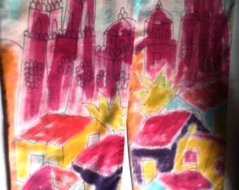 COTTON PANTS, Vintage Paul Ropp, Hand Painted Art, 100% Cotton, Hippie, BoHo at its Best, Wearable Art, Beachwear