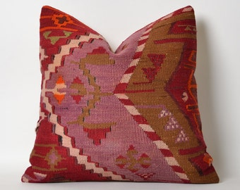 Vintage Kilim Pillow Cover - Red Purple Decorative Kilim Pillows Hand Embroidery Wool Cushion Bohemian Home Decor Sofa Throw Kilim Pillow