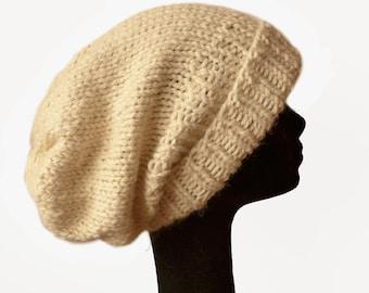 Baby Alpaca Slouch Beanie Hat, Chunky Hat, Slouchy Beanie