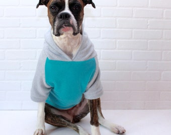 Dog Hoodie Large Dog Sweater Clothing for Girl/Boy in Blue and Grey