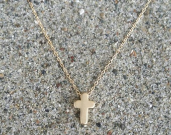 Cross Necklace, Tiny Cross Pendant, Gold Cross