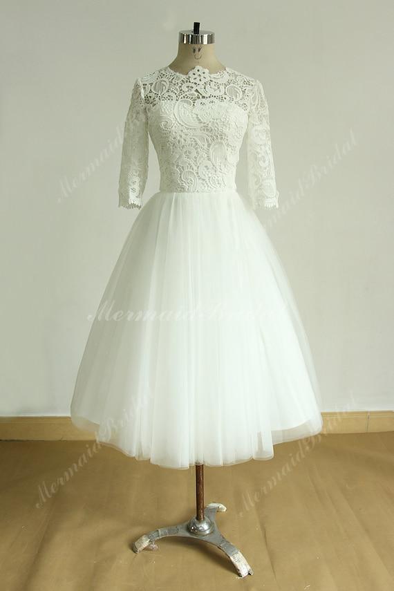 Vintage tea length ivory tulle lace wedding dress with mid for Ivory lace tea length wedding dress