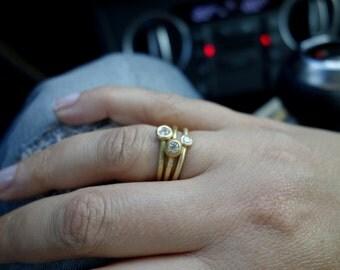 Unique Stacking Rings Gold Diamond Rings Unique rings Fine Jewelry Stackable stacking ring Gold rings set Engagement rings Wedding rings