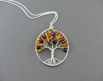 Autmn Tree of Life Pendant - Sterling Silver Wire Wrapped Pendant - Fall Jewelry - Autumn Jewelry - Fall Tree of Life Necklace