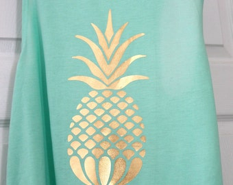 Gold Foil Pineapple Muscle Tank | Tank Top Shirt | Custom Made | 15 Colors Available