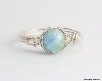 Larimar Ring, Silver Wire Wrap Ring, Natural Light Blue Larimar Gemstone Ring, Boho Hippie Ring, Dainty Blue Stone Ring, Bridesmaid Gift