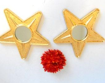"9"", Wall Mirrors, Round Mirrors, Small Wall Mirrors, Decorative Wall Mirrors,  Gold Mirrors, Gold Leaf Mirrors, Pair of Small Gold Mirrors"