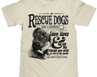 Unisex Animal Rescue TShirt - Rescue Dogs Save Lives Cotton Tee - Item 1987