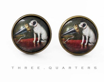 Studs, dog, Gramophone, Jack Russell Terrier, cabochon, round, glass stone, antique, bronze, baroque, vintage, oldschool, red