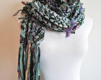 Knit Sari Silk Scarf ~ Midweight Sari Scarf ~ Knitted Ribbon Scarf ~ Multicolor Scarf ~ Blue Black Purple Teal Scarf ~ Hand Knit Scarf