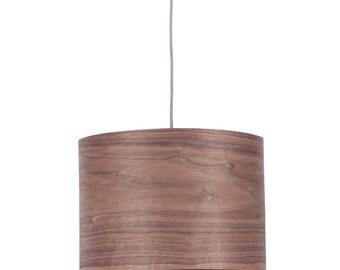 "Drum Shade Pendant light ""Cylinder"" -Walnut Wood Veneer-handmade Veneer Lamp"