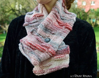 """Scarf """"Grey Burgundy"""" / Autumn – Winter fashion / knitted scarf with button / Unique piece"""