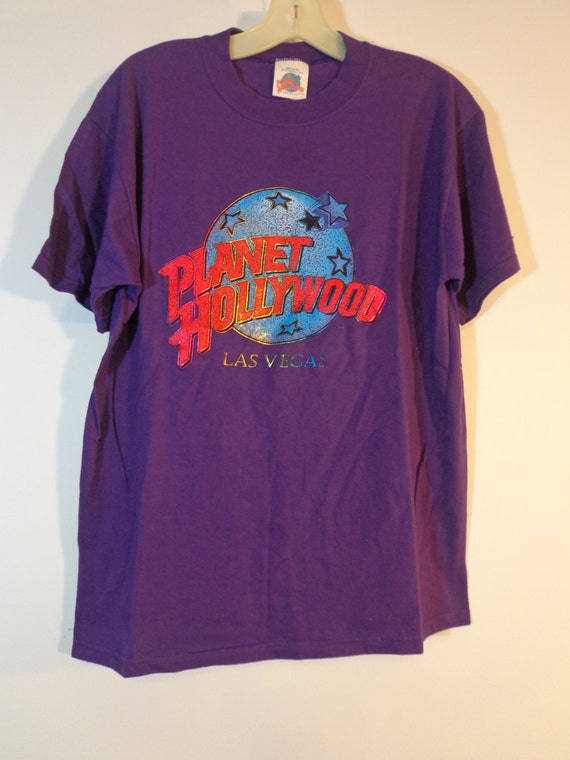 90s vintage official planet hollywood las vegas purple for Planet hollywood t shirt