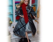 """4 Pc's """"1960's Spot of Color"""" Gray Coat, Dress,  Red Hat, Scarf. Handmade Barbie Clothes. Fits all Barbie Dolls, Vintage, Modern, Silkstone"""