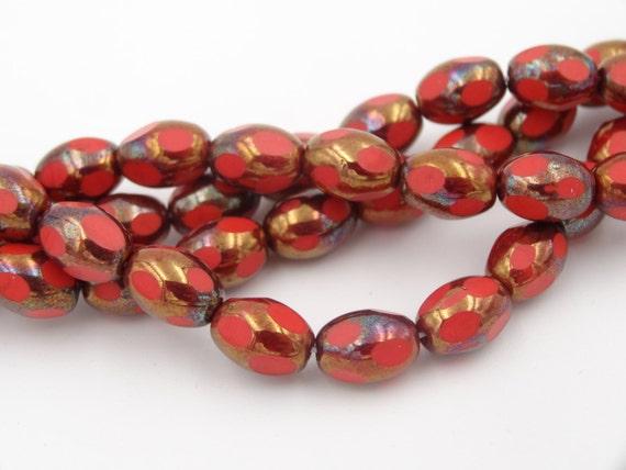 Czech Glass 8x6m Oval Thru-Cut Fire Polish Coral Bronze AB ...