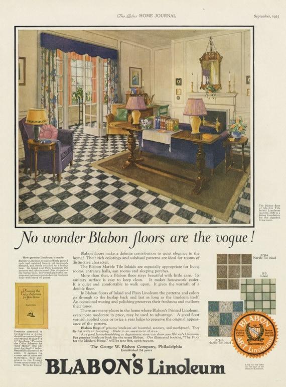 Items Similar To 1925 Blabonu0027s Linoleum Ad 1920s Home Interior Illustration  Art Vintage Flooring Advertisement Living Room Print Antique Shop Wall Art  Decor ...