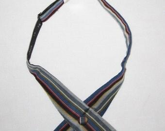 Vintage Beau Brummell Sport Stud Adjustable Silk Bow Tie Blue Multi-Color Striped