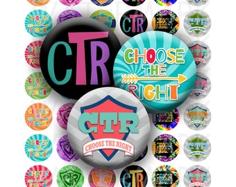 Choose the Right - LDS Primary 2017 Theme - CTR Variety Designs - Digital Collage Sheet - 1 inch Round Circles - Instant Download