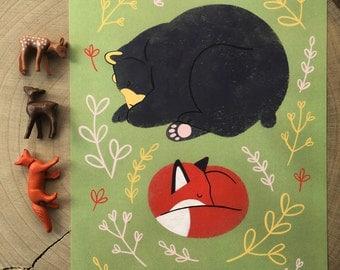 Sleeping Bear & Fox Illustration Sweet Dreams a4 format