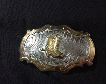 Sterling Silver Beltbuckle With Embossed Cowboy Boots