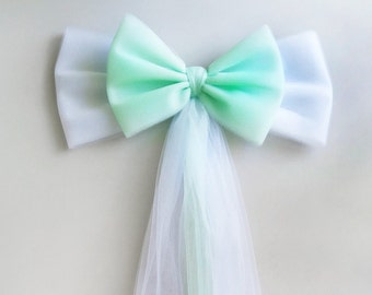 Mint and White Tulle Wedding Bow, Church Pew Bow, Wedding Pew Bow,  Bridal Shower Bow,Wreath Door Mailbox Church Decoration