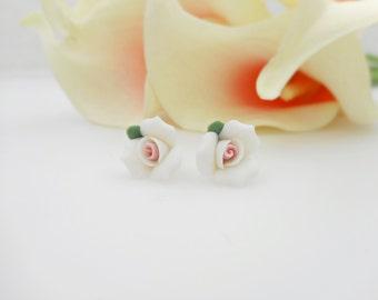 FREE US Ship Sweet Little Porcelain Rose Flower Girl Stud Earrings Porcelain Rose Studs Flower Girl Gift Large Rose Studs