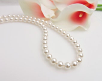 Single Strand Swarovski Pearl Bridal Necklace 8mm Swarovski Pearl Bridal Necklace Pearl Bridal Necklace With Short 925 Backdrop FREE US Ship