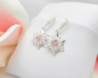 FREE US Ship Swarovski Crystal Pave Edelweiss Earrings Sterling Edelweiss Earrings With Rose Rhinestones Bridesmaid Earrings Bridesmaid Gift