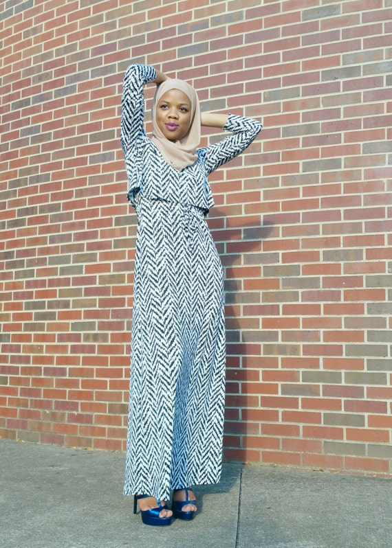 Fatima Maxi Dress (black and white)