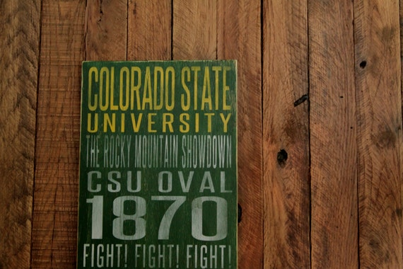 Colorado State University Rams Distressed Wood Sign--Great Father's Day Gift!