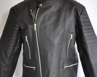Vintage LEATHER BIKER JACKET , men's moto jacket .....(119)