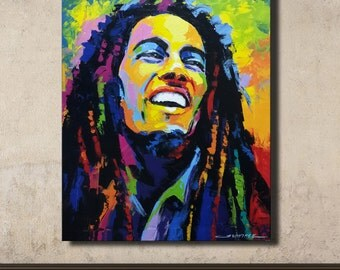 Colorful painting of Bob Marley 50x60 cm