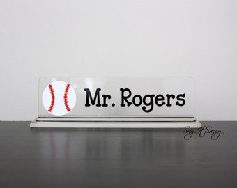Personalized Desk Name Plate - Great Teacher Gift - Sports