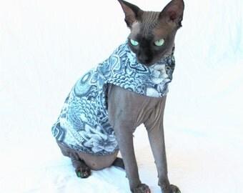 """Designer Cat Shirt """"Fauxchet"""" Summerweight Cat Clothing"""