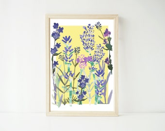Lavender A4 Print, Wall Art, Art Prints, Nature Print, Flowers, Paper Goods, Flower Print, Herbal Remedies, Home Sweet Home