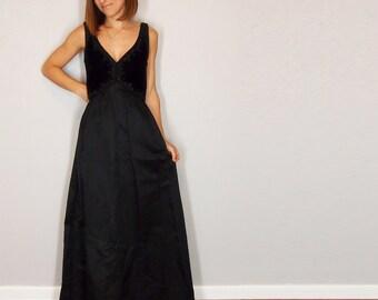 Black Velvet 1950s Dress, Floor Length Formal Dress, Maxi Ball Gown, Small Medium.