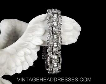 Authentic Art Deco Bracelet, 1920's Paste Bracelet, Vintage Pave Diamante Bracelet, Rhinestone Bracelet, Wedding, Bridal, Wide, Diamante