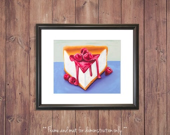 Cheesecake Print from Original Oil Painting, Dessert Art