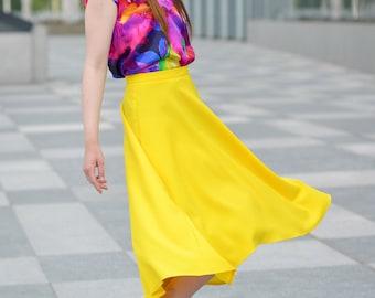 Yellow Skirt, Plus Size Skirt, Midi Skirt, Petite Skirt, Short Skirt, Asymmetrical Skirt, Pin Up Skirt, Evening Skirt, Minimalist Skirt