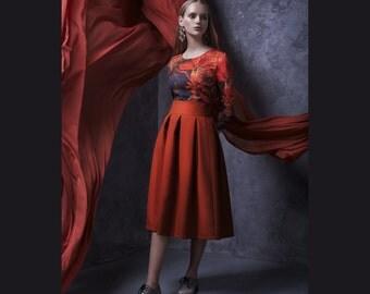 Midi Skirt, High Waisted Skirt, Flared Skirt, Dance Skirt, Occasion Skirt, Formal Skirt, Office Skirt, Bridesmaid Skirt, Loose Skirt
