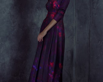 Long dress with night flower print
