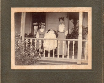 Antique Photo of Lady, Little Girl, and Baby