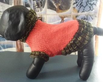 Hand Knit Turtleneck DOG SWEATER...MEDIUM # 134