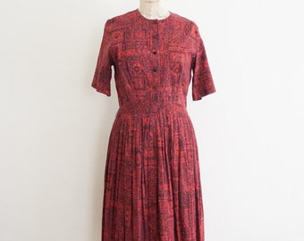 vintage 1950s magenta tile print shirt dress | M/L