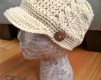 Crochet Cabled Newsboy Hat, Adult brimmed Headwear, You Choose Color